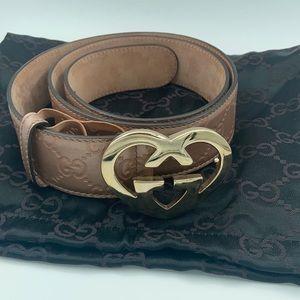 Authentic Gucci heart shape GG buckle belt gold